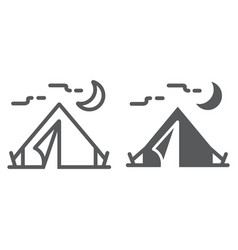 Tourist tent line and glyph icon travel and vector