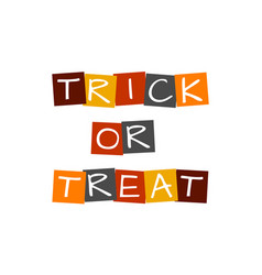 Trick or treat text in colorful rotated squares vector