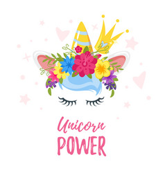 Unicorn head with flower wreath vector