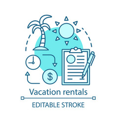 Vacation rentals concept icon apartment cottage vector