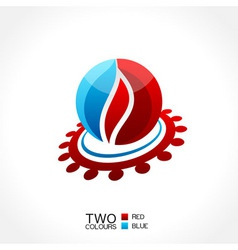 vector business emblem fire water icon round vector image