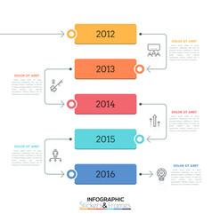 Vertical timeline year indication inside five vector