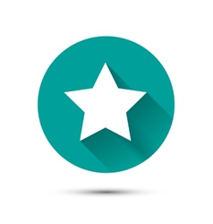 White star icon on green background with shadow vector image
