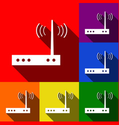 wifi modem sign set of icons with flat vector image