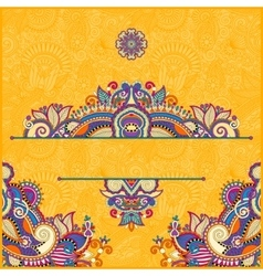 Yellow invitation card with neat ethnic background vector