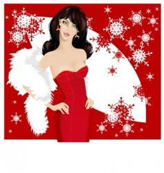 christmas lady vector image