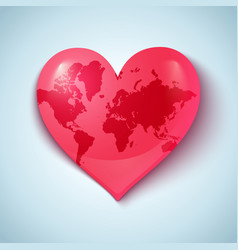 Earth heart pink vector image