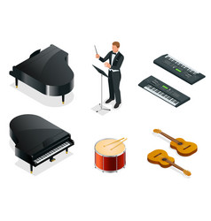isometric musical instruments icons vector image vector image