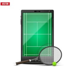 Smartphone with american tennis ball and field on vector image
