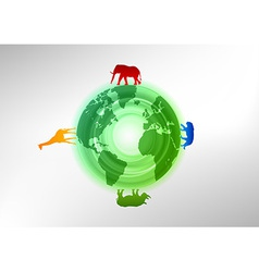 animals on the world vector image vector image