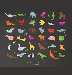 animals origami set black vector image
