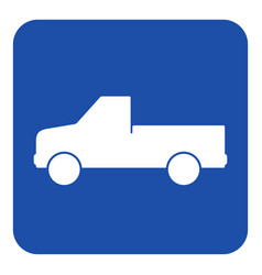 blue white sign - pickup with a flatbed icon vector image