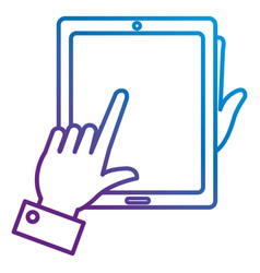 hands with tablet device isolated icon vector image