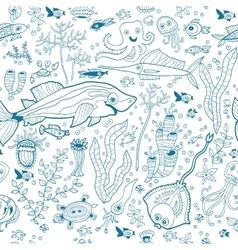 Underwater seamless pattern background Monochrome vector image vector image