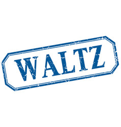 Waltz square blue grunge vintage isolated label vector