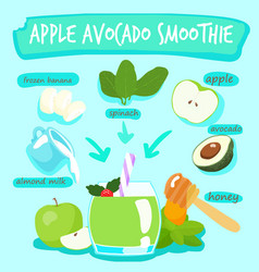 apple avocado delicious healthy smoothies xa vector image vector image