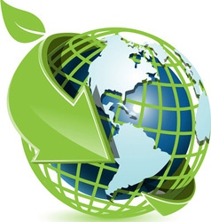 blue globe and green arrow vector image vector image