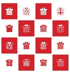 Christmas gift boxes icons set vector image