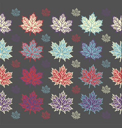 maple leaf seamless pattern on grey background vector image vector image