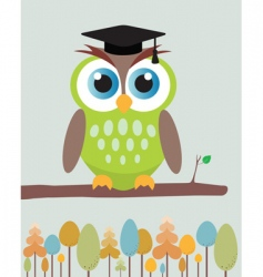 owl with mortar board hat vector image vector image