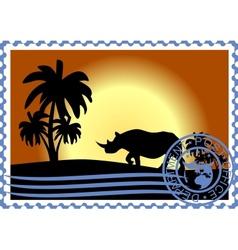 Postage stamp Savannah vector image vector image