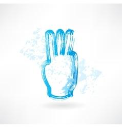 three fingers grunge icon vector image