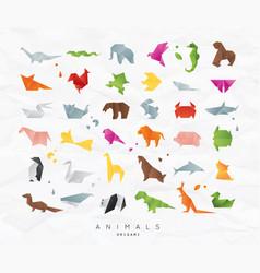 animals origami set color vector image vector image