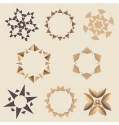 Brown Elementory ornament set vector image