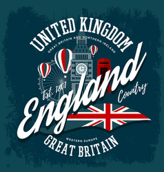 england or britain united kingdom t-shirt print vector image