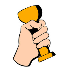 hand holding trophy cup icon icon cartoon vector image