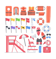 lifeguard equipment flat icons set vector image vector image
