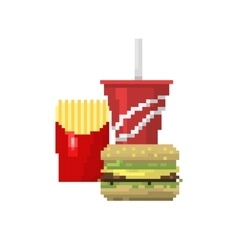 Pixel art fast food hamburger and cola icons vector image vector image