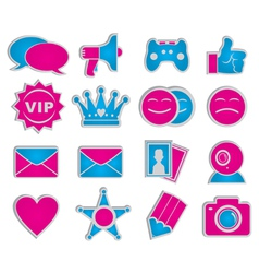 social network icons sticker vector image