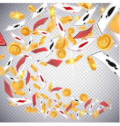3d dollar gold coinsholdem poker casino cards vector