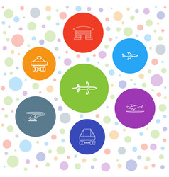 7 jet icons vector image