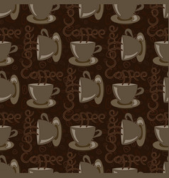 a cup of coffee with beans and an inscription vector image