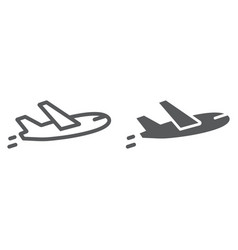 airplane flight line and glyph icon travel and vector image