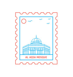 Al aqsa mosque postage stamp blue and red line vector