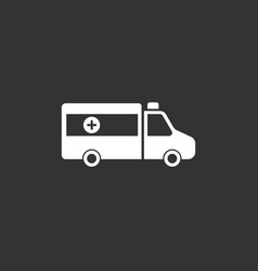 Ambulance icon on a black background vector