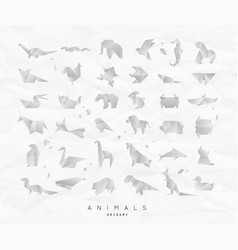 Animals origami set crumpled vector
