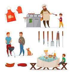 Barbecue party icon set vector