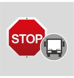 Big bus stop road sign design vector