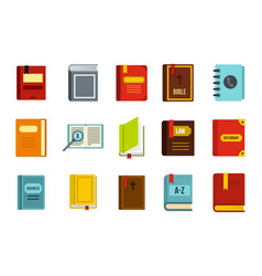 book icon set flat style vector image