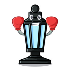Boxing street lamp character cartoon vector