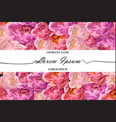 Brand card with watercolor peony flowers vector