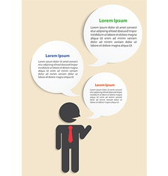 Businessman with speech infographic background vector