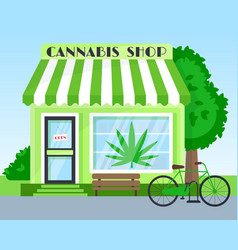 Cannabis shop building front view flat vector