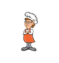 Chef Cook Female Arms Folded Cartoon vector