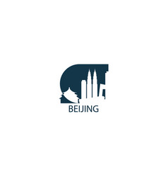 china beijing skyline shape vector image