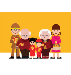 Chinese cartoons family with red envelopes vector